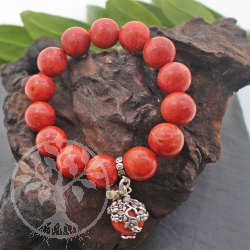 Coral Bracelet with silver charm beads 925 12mm/20cm