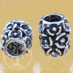 Thai sterling silver Tube Beads 925 6x10x11 mm