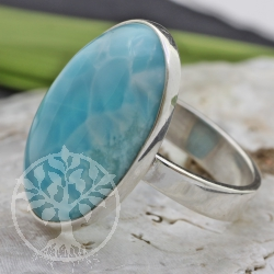 Silver Ring with Larimar gemstone Size 57 mm