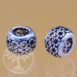 Thai sterling silver Tube beads 925 6x10x8 mm Hibiscus Flower