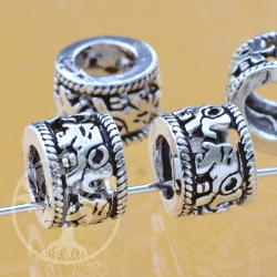Thai sterling silver Tube Beads 925 6x9x8 mm Elephant