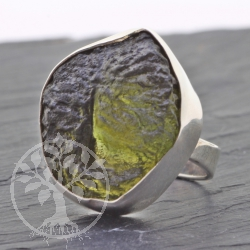 Sterling  silver  Ring Moldavit gemstone 925 19x23 mm