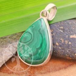 Malachite AA Pendant genuine gemstone silver 925 18x36 mm