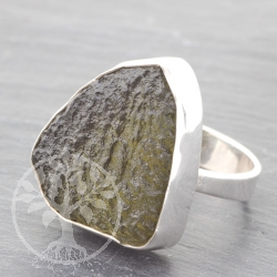 Sterring silver Ring Moldavit gemstone 925 21x27  mm