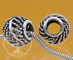 Silberperle Thai Kokusnus Blatt Silber 925 6 mm Loch in der Perle 10x10 mm Kokusnus Blatt  Modulperle