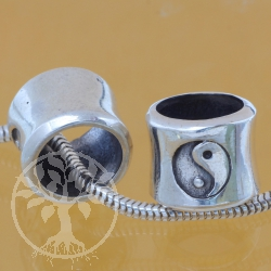 Sterling Silver beads  Yin Yang  8x9x10 mm