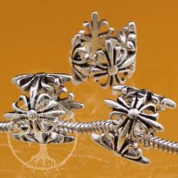 Silberperle Fleurs des Lis Kreuz Lilie Silber 925 Röhren Perle Loch 8mm