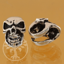 Thai sterling silver Tube beads 925 8X10  mm Skull