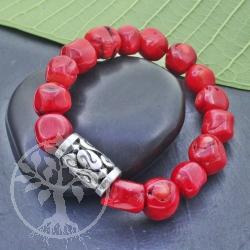 Coral Bracelet Gemstone 10 mm Bracelet wiht Siverbeads 925 18 -19 cm