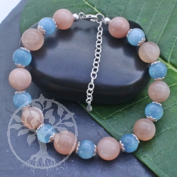 Moonstone Aqaumarin  gemstone Bracelet Silver 925   20 cm