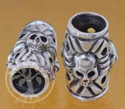 Silberperlen Thai  Schädel Silber 925 8 mm Loch in der Perle13x21 mm Modulperle Totenkopf