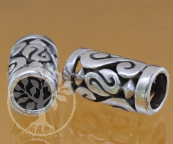 Thai sterling silver Tube beads 925 8x12x20 mm