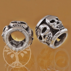 Thai sterling silver Tube beads 925 8X11X10 mm Skull