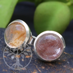 Rutilated Quartz Stud Earrings 8 mm Circle Pair