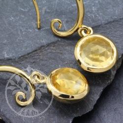 Citrin Ohrhänger Sterling Silber Vergoldet Facettiert