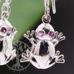 Frosch Ohrringe mit Amethyst Edelstein Augen Ohrhänger 925er Silber