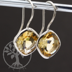 Citrine Earring Sterling Silver Rhodium Plated Square
