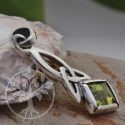 Peridot pendant square silver sterling 925  25X6 mm