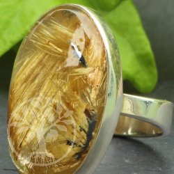Gold Rutilated Quartz Ring .925 Silver 24x20 mm Size 55