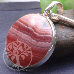 Rhodonite Pendant Pink Moon Shape 925 Silver Gemstone 43X30 mm