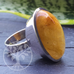 Rutilated Quartz Gold  925 Silversterling Ring  30x18 mm