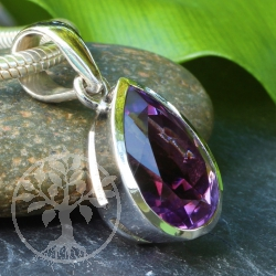 Amethyst Gemstone Pendant 925 Silversterling 35x15 mm