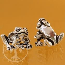 Frosch Quaki Silberperle Modulperle für Wechselarmband 5mm Loch Silber Perle 925