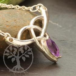 Amethyst Pendant Violet Sister Sterling Silver 925 Necklace Length 45 cm Celtic Style