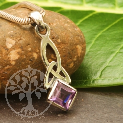 Amethyst Pendant Sparkle Sterling Silver 925 Square 26x8mm