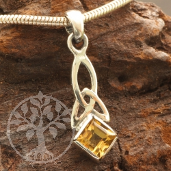 Citrine Pendant Sterling Silver 925 Celtic knot with Square gemstone 26x7mm
