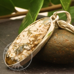 Ocean Jaspis Anhänger A Milchklecks 925 Sterling Silber Oval