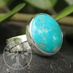 Turquoise Gemstone 925 Silver Sterling Ring Blue Eye Round shape 24x18 mm Size53