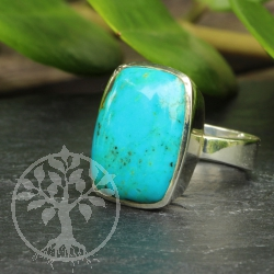 Turquoise Gemstone 925 Silver Sterling Ring square shape 30x22 mm Size 61