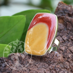 Mookaite 925 Silver Sterling Ring Biopoint Square Shape 29x23 mm size 51