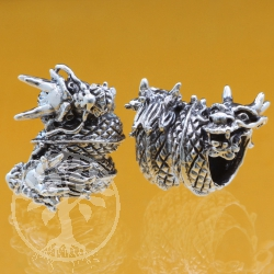 Thai sterling silver Tube  beads 925 Dragon 8x12x18 mm