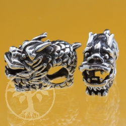 Thai sterling silver  beads 925 Dragon 5X8X18 mm