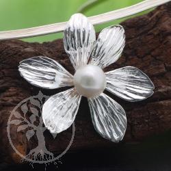 Blumen Anhänger mit Perle 925 Sterling Silber 46x46 mm