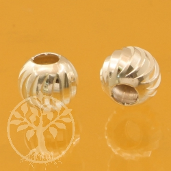 Spiral circle round beads sterling silver 925   5 mm