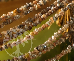 Diamant Halskette Rohdiamant Kette Kupfer Dunkel 2/3mm 42/45cm
