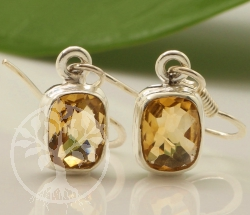 Citrine Earring Square Sterling Silver 925 8x25mm
