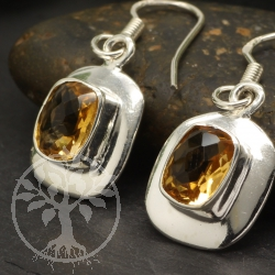 Citrine Earring Square Pendant Sterling Silver 925 11x28mm