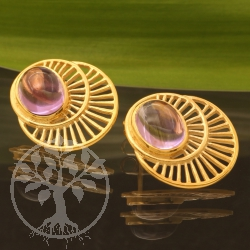 Amethyst Stud Earrings Gold 17x20mm