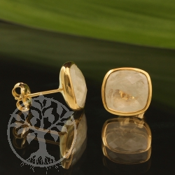 Mondstein Ohrstecker Silber 925 Vergoldet Facettiert