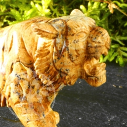Tiger Landscape Jasper brown Tiger Carving 10cm