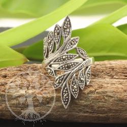 Blatt Markasit Sterling Silber Ring 925 23x39mm Größe 60