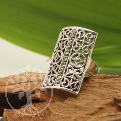 Markasit Silber 925 Ring Quadrat 21x37mm