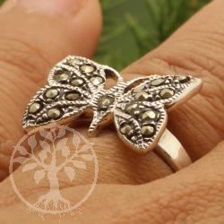 Markasit Ring Silberring Schmetterling 19X23mm 925er Silber