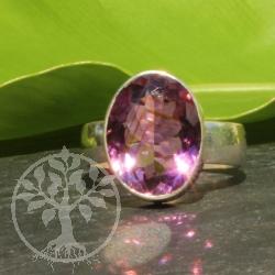 Amethyste Gemstone Ring Silver 17x27 mm Size 60