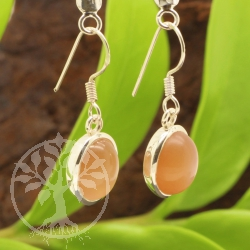 Moonstone earrings peach silver 925 28 x 11 mm oval stone AA