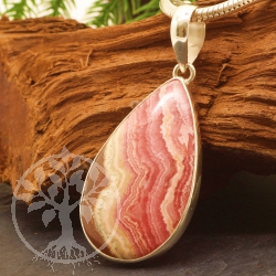 Rhodochrosite Pendant with 925 Silver 25x57 mm